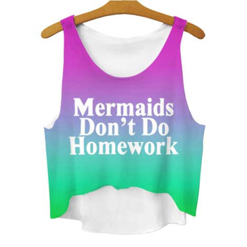 Ombre Mermaids Don't Do Homework Quote Crop Top Tee | DOTOLY | DOTOLY