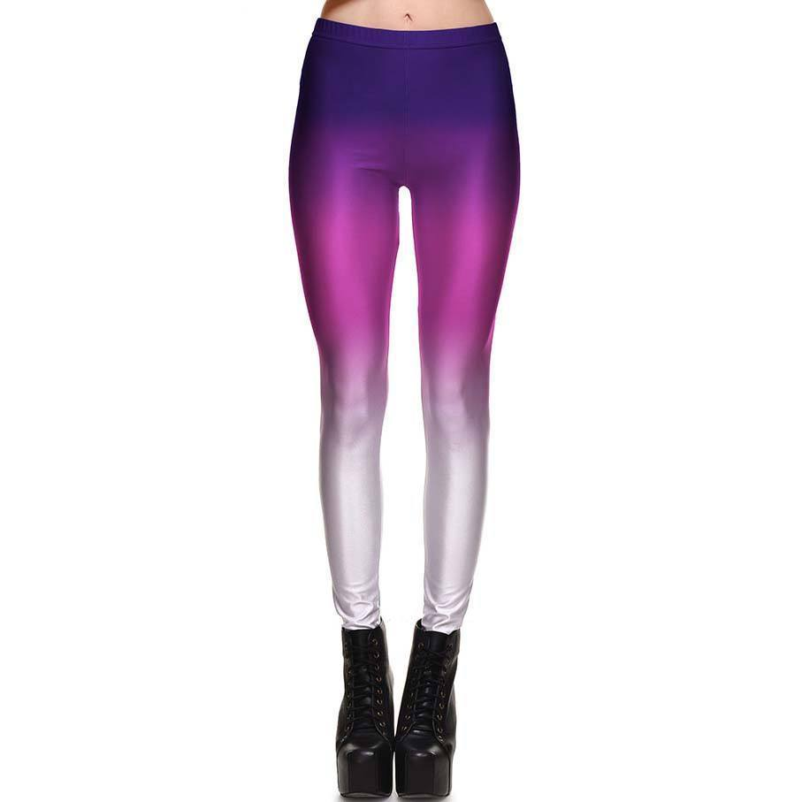 Ombré Pink and Purple Gradient Digital Print Legging Pants for Women | DOTOLY