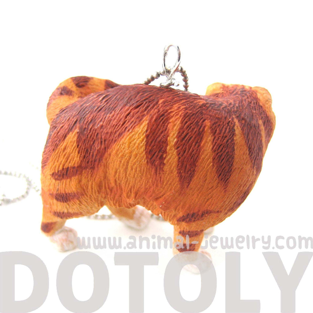 Orange and White Manx Tabby Kitty Cat Animal Plastic Pendant Necklace | Animal Jewelry | DOTOLY