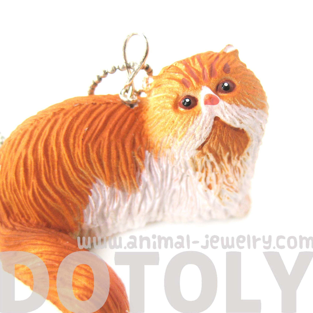 Orange and White Persian Kitty Cat Animal Plastic Pendant Necklace | Animal Jewelry | DOTOLY