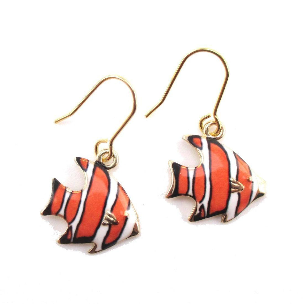 Orange and White Stripe Tropical Fish Shaped Enamel Dangle Earrings