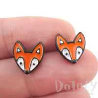 Orange Baby Fox Shaped Stud Earrings in Silver | Animal Jewelry | DOTOLY