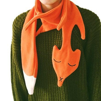 Orange Fox Shaped Wrap Around Fleece Scarf for Kids and Adults | DOTOLY