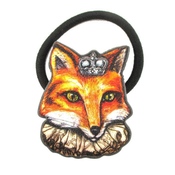 Orange Fox Wearing A Crown Shaped Glittery Hair Tie Ponytail Holder