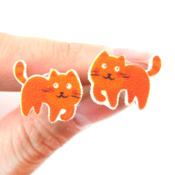 Orange Kitty Cat Animal Stud Earrings | Handmade Shrink Plastic | DOTOLY