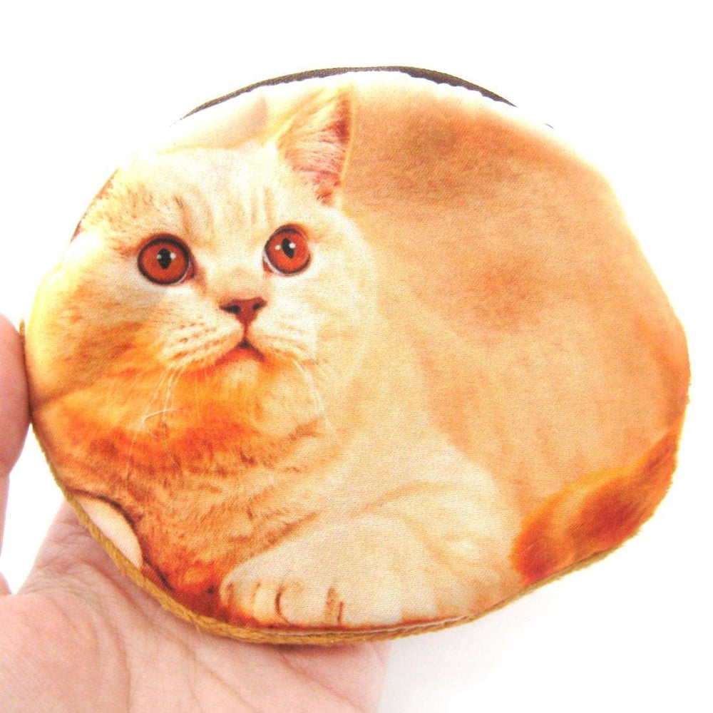 Orange Kitty Cat Shaped Digital Print Zipper Coin Purse Make Up Bag | DOTOLY