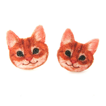 Orange Tabby Kitty Cat Face Shaped Animal Stud Earrings | Handmade Shrink Plastic | DOTOLY