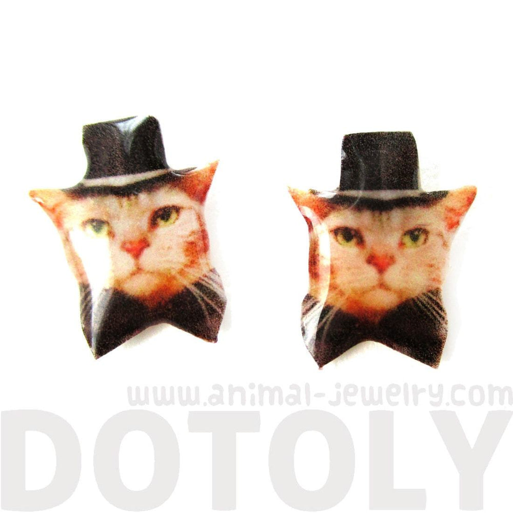 Orange Tabby Kitty Cat in Bow Tie and Top Hat Shaped Animal Resin Stud Earrings | DOTOLY