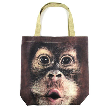 Orangutan Monkey Baby Face Print Hemp Fabric Tote Shopper Bag | DOTOLY | DOTOLY