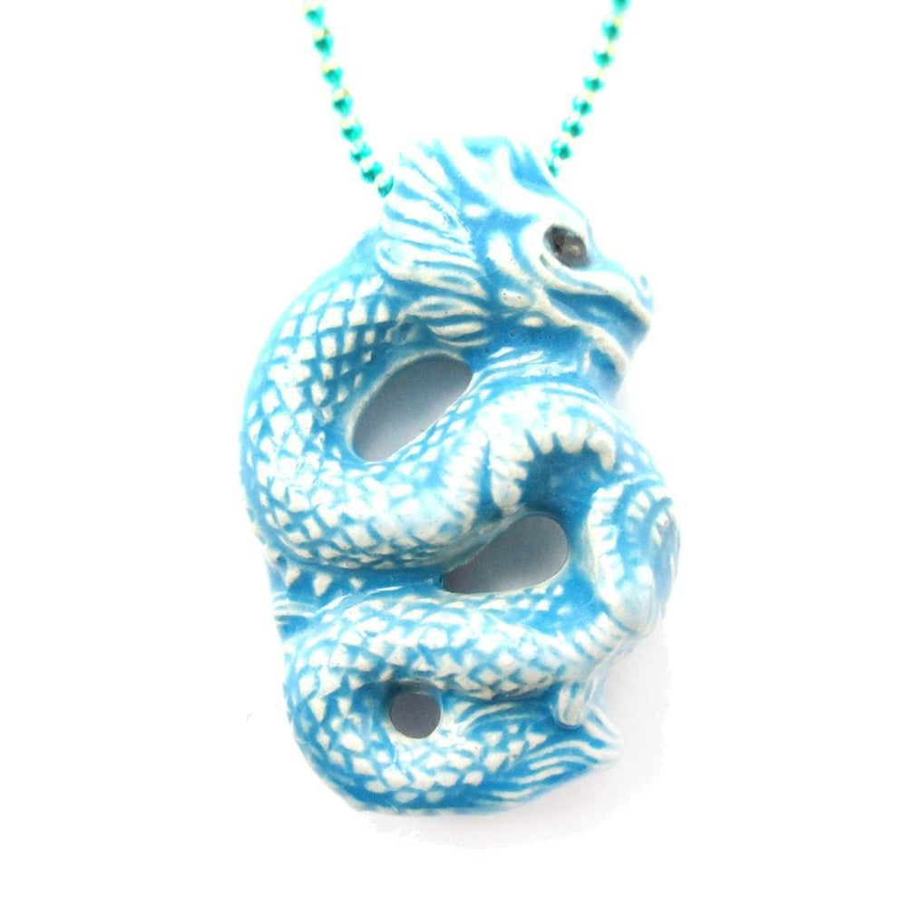 Oriental Dragon Shaped Porcelain Ceramic Pendant Necklace in Blue | Mythical Creatures Collection | DOTOLY