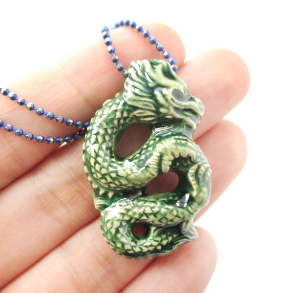 Handmade Dragon Shaped Porcelain Ceramic Pendant Necklace