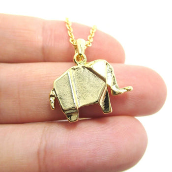 Origami Abstract Elephant Shaped Pendant Necklace in Gold | Animal Jewelry | DOTOLY
