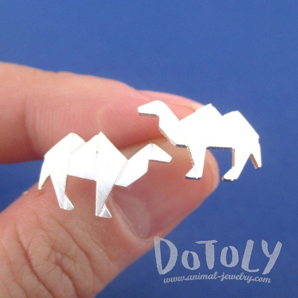 Origami Camel Shaped Allergy Free Stud Earrings in Silver | DOTOLY