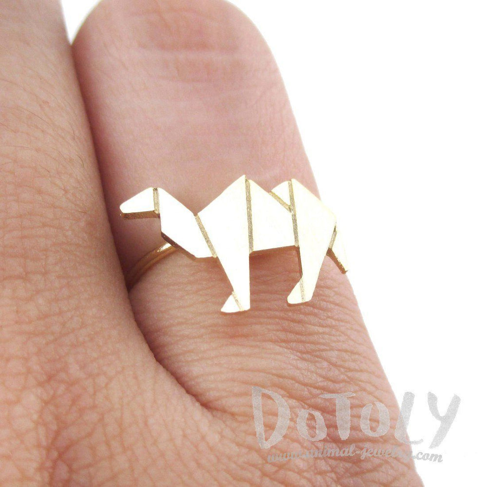 Origami Camel Silhouette Shaped Adjustable Ring in Gold | DOTOLY