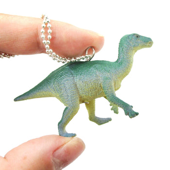 Ornithomimus Dinosaur Shaped Figurine Pendant Necklace in Green Blue | Animal Jewelry | DOTOLY