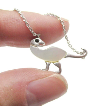 Ornithomimus Dinosaur Shaped Pendant Necklace in Silver with Pearl Detail | DOTOLY | DOTOLY