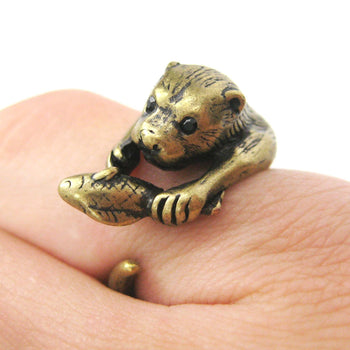 Otter Beaver Holding a Fish Shaped Animal Wrap Around Ring in Brass | US Sizes 4 to 9 | DOTOLY