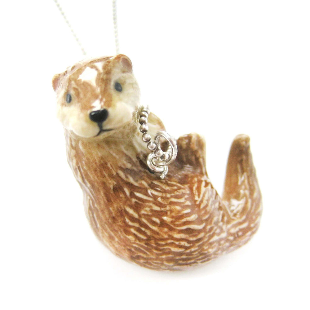Otter weasel shaped porcelain ceramic animal pendant necklace dotoly otter weasel shaped porcelain ceramic animal pendant necklace handmade dotoly aloadofball Image collections