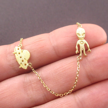 Outer Space Themed UFO Spaceship and Alien Shaped Charm Necklace