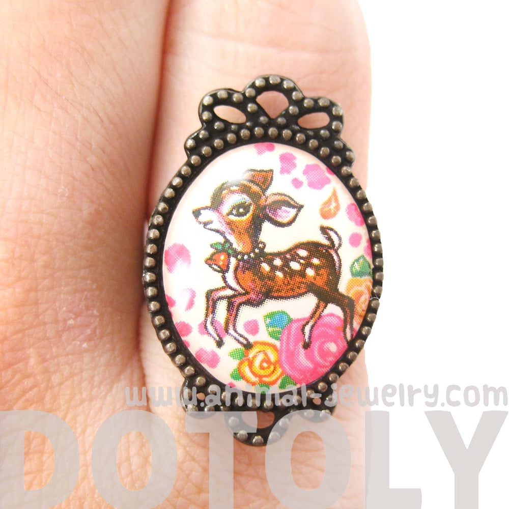 Oval Bambi Deer Illustrated Adjustable Ring with Floral Details | Animal Jewelry | DOTOLY