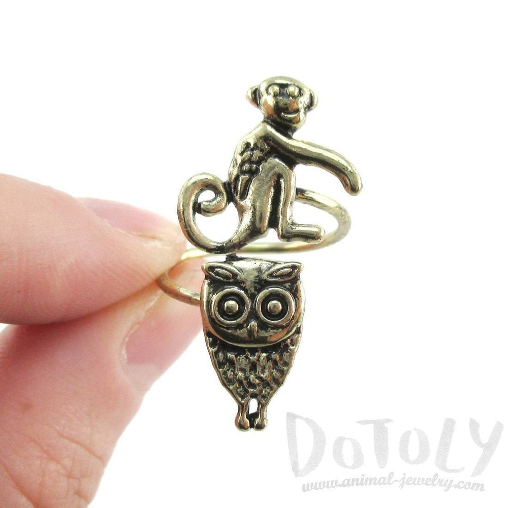 Owl and Monkey Wrap Around Adjustable Ring in Brass | DOTOLY | DOTOLY