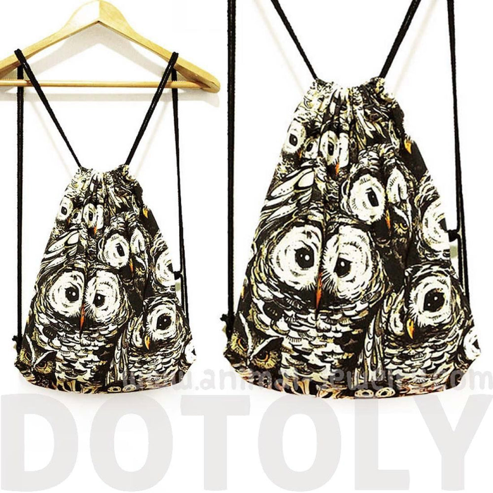 Owl Animal Print Collage Drawstring Cinch Backpack Bag for Women | DOTOLY | DOTOLY
