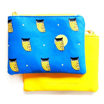 Owl Bird Animal Print Wallet Coin Purse Makeup Bag in Blue and Yellow | DOTOLY