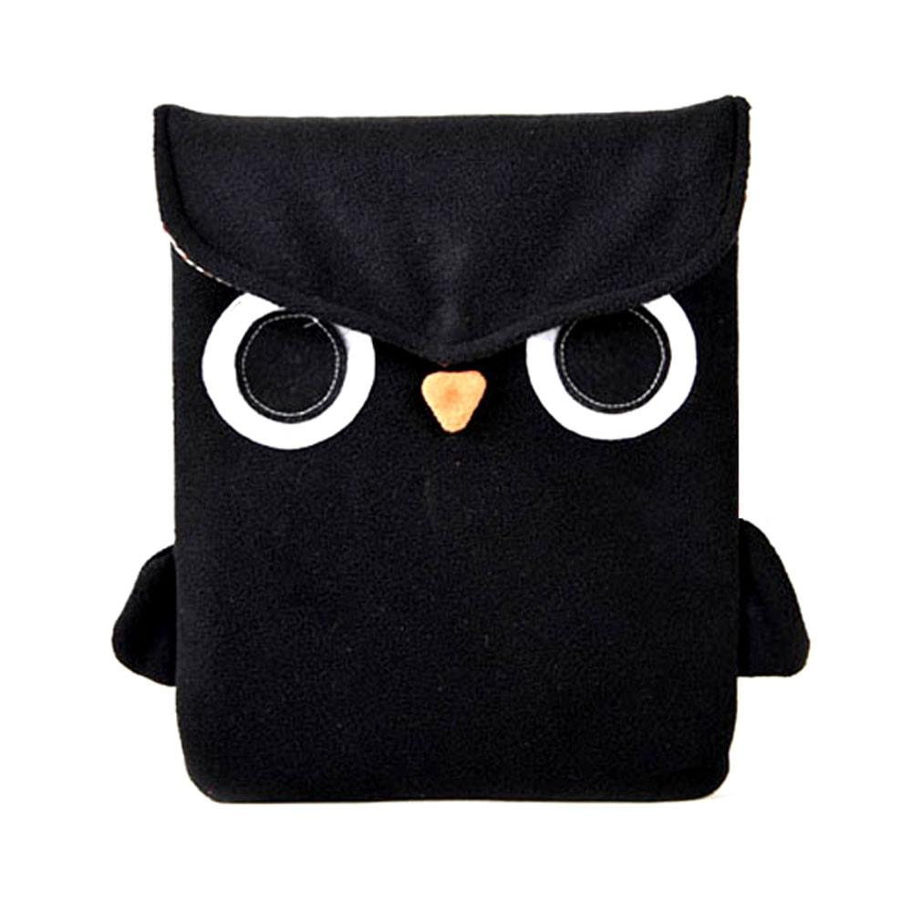 Owl Bird Animal Themed Fully Lined iPad Sleeve Case in Black Fleece | DOTOLY