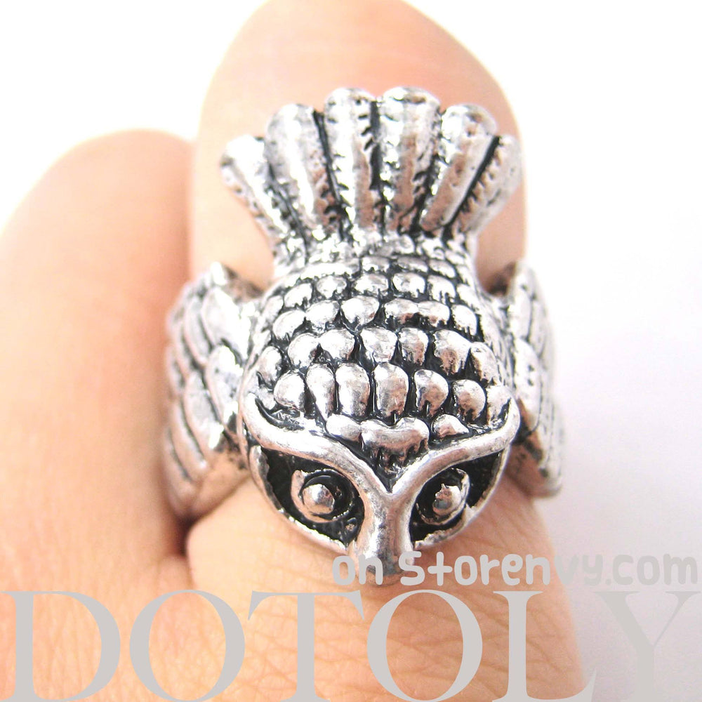 Antique Owl Bird Animal Wrap Around Ring in Silver | Sizes 6 and 7 | DOTOLY