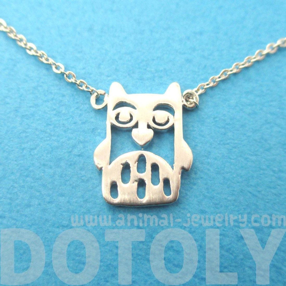 Owl Bird Cut Out Shaped Pendant Necklace in Silver | Animal Jewelry | DOTOLY