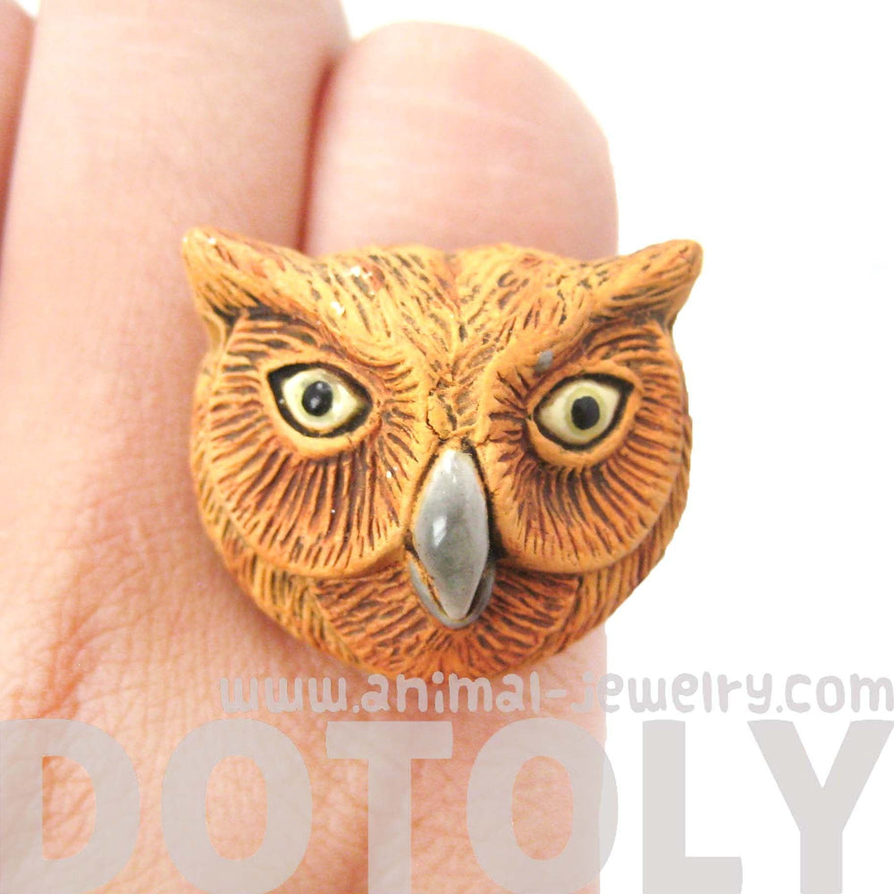 Owl Bird Head Shaped Porcelain Ceramic Adjustable Animal Ring | Handmade | DOTOLY