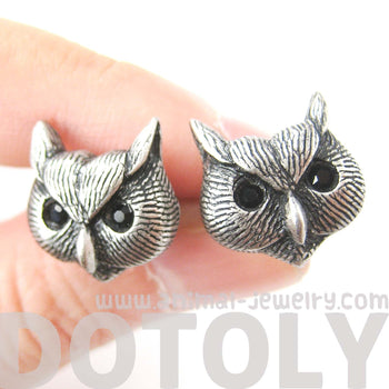Owl Bird Realistic Animal Stud Earrings in Silver | Animal Jewelry | DOTOLY