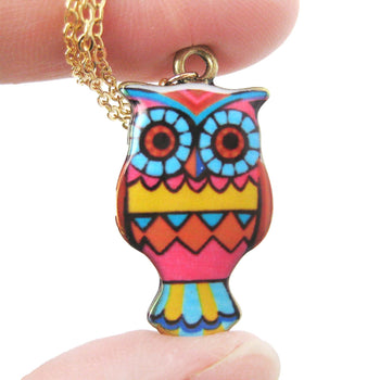 Owl Bird Shaped Geometric Print Illustrated Resin Pendant Necklace | DOTOLY | DOTOLY