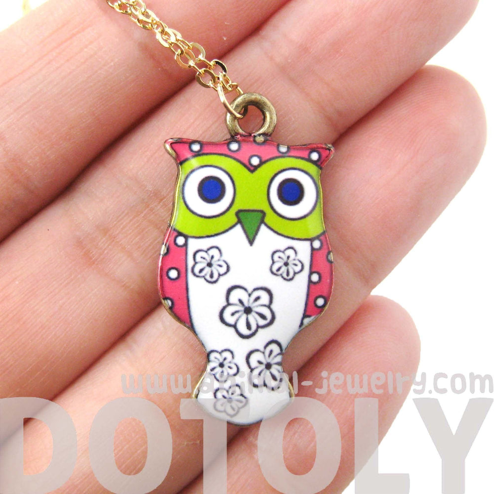 Owl Bird Shaped Illustrated Resin Pendant Necklace in Pink and White | DOTOLY | DOTOLY