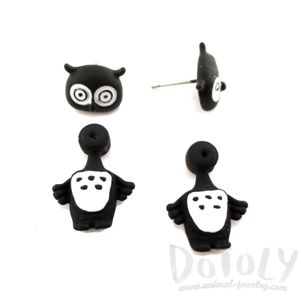 Owl Bird Shaped Two Part Front and Back Stud Earrings in Black and White | DOTOLY