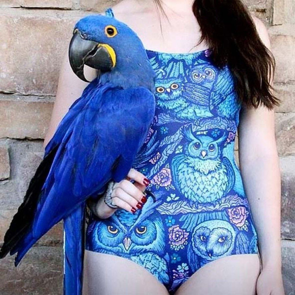 Owl Birds and Floral Animal Digital Print Scoop Neck Sleeveless Bodysuit for Women in Blue | DOTOLY