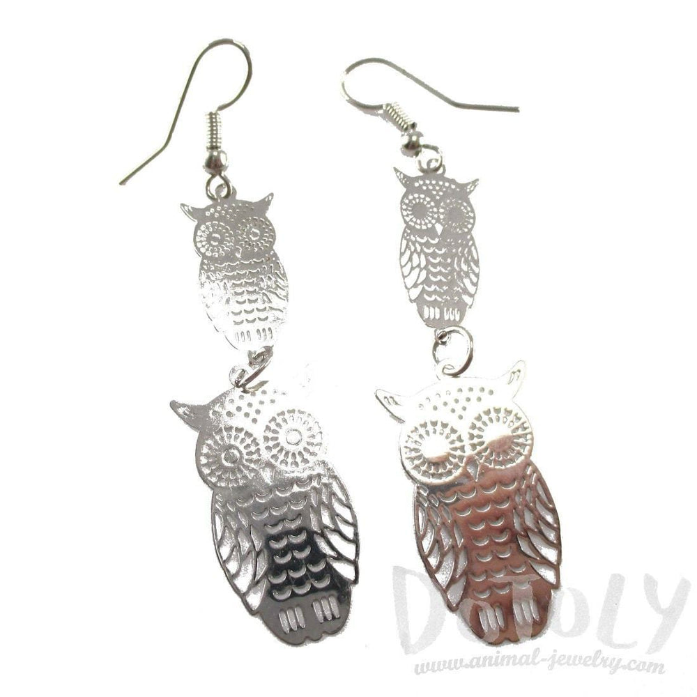 Owl Filigree Cut Outs Tiered Dangle Earrings in Silver | Animal Jewelry | DOTOLY