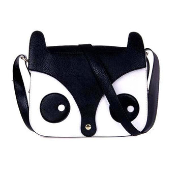 Owl Fox Face Shaped Animal Themed Cross body Shoulder Bag for Women in Black | DOTOLY