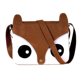 Owl Fox Face Shaped Animal Themed Cross body Shoulder Bag for Women in Brown | DOTOLY