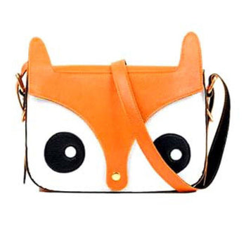Owl Fox Face Shaped Animal Themed Cross body Shoulder Bag for Women in Orange | DOTOLY