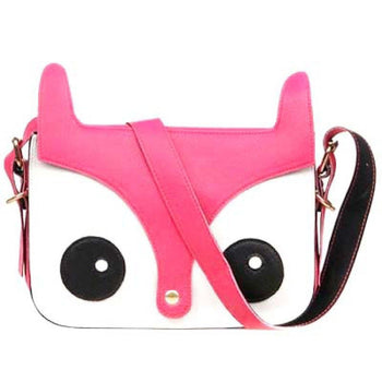 Owl Fox Face Shaped Animal Themed Cross body Shoulder Bag for Women in Pink | DOTOLY