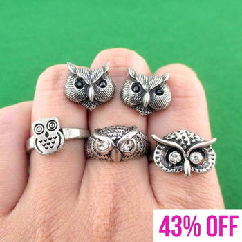 Owl Inspired Animal Ring and Stud Earring 4 Piece Set | Animal Jewelry