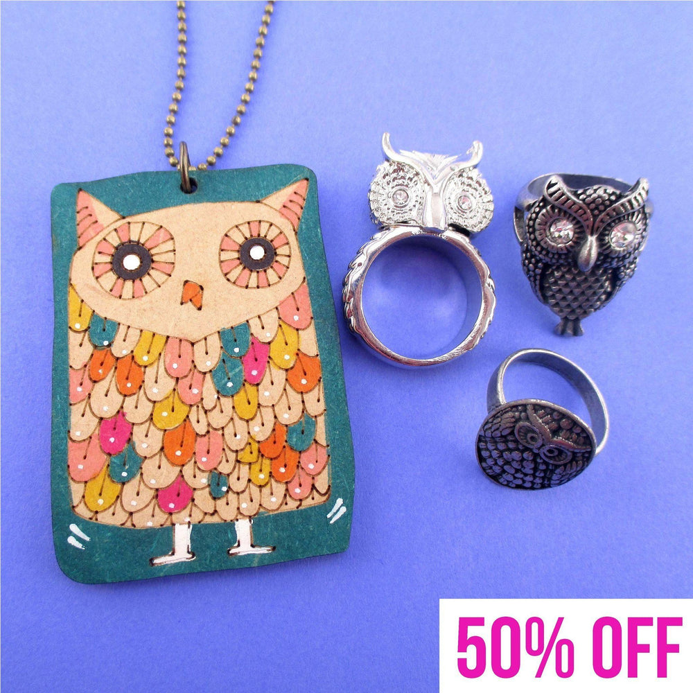 Owl Inspired Rings and Hand Drawn Owl Necklace 4 Piece Set | DOTOLY
