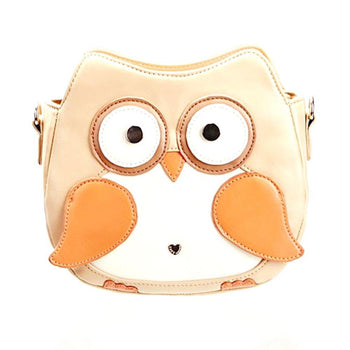 Owl Shaped Animal Bird Themed Cross body Shoulder Bag for Women in Cream | DOTOLY