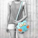 Owl Shaped Animal Bird Themed Cross body Shoulder Bag for Women in Mint Blue | DOTOLY