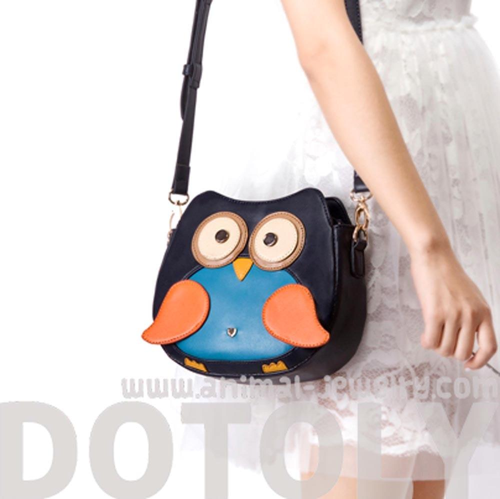 Owl Shaped Animal Bird Themed Cross body Shoulder Bag for Women in Navy | DOTOLY