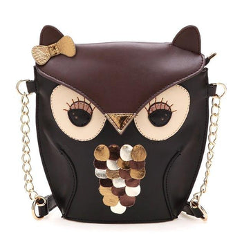 Owl Shaped Animal Themed Cross body Shoulder Bag for Women in Brown | DOTOLY