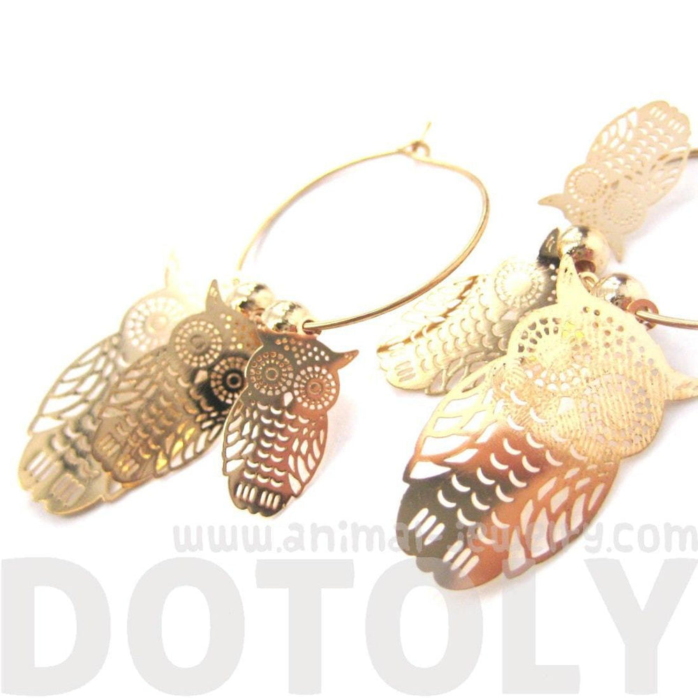 Owl Sillhouette Cut Out Shaped Dangle Hoop Earrings in Gold | Animal Jewelry | DOTOLY