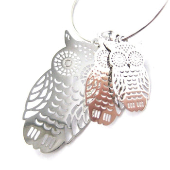 Owl Sillhouette Cut Out Shaped Dangle Hoop Earrings in Silver | Animal Jewelry | DOTOLY