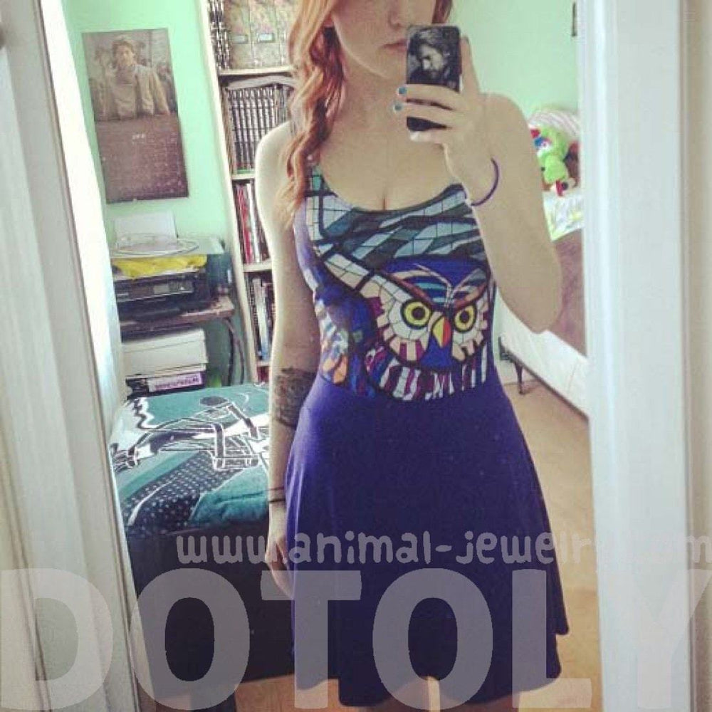 Owl Stained Glass Animal Digital Print Scoop Neck Sleeveless Bodysuit for Women in Blue | DOTOLY